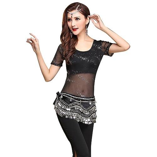 3bc726e539fdf YiJee Women Dance Costume Belly Dance Tops Pants Hip Wrap Scarf