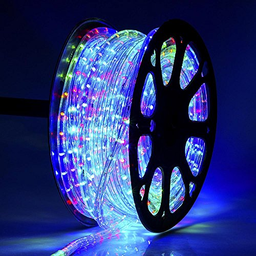 DELight Upgraded 150 FT RGBY 2 Wire 1620pcs Bulbs LED Rope Light Christmas Home Holiday Party Disco Restaurant Cafe Decor