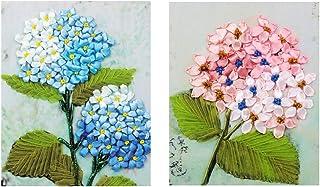 dailymall Paquet De 2 Paquet De Soie Broderie Fleur épanouissant Motif DIY Mur Décor Timbre Soie Ruban De Broderie Kit pou...
