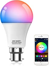 HaoDeng 10W A19 B22 (90W Equivalent) 800Lumens WiFi & Bluetooth 2in1 RGBCW WiFi LED Smart Bulb - Dimmable, Multicolor, Tun...