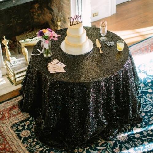 BLUELSS Vente en Gros d'usine 108cm Nappe Ronde Paillette Or Shimmer Mariage Tissu Sequin Chiffon de Table Décoration de Table de Mariage,Black,60x120dans