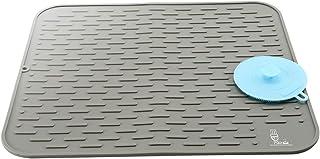 SUPER KITCHEN 大判 シリコン 水切りマット 多機能 シリコーン スクラバー付 カウンタートップ 耐熱 水切り ボードマット厚手 速乾 キッチン 食器 乾燥 マット 用 45×40cm グレー