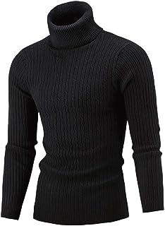 Jersey Cuello Alto Hombre Jerseys de Punto Invierno de Vestir Suéter Cálido Sudadera Básico Sólido Ropa Casual Delgado Top...