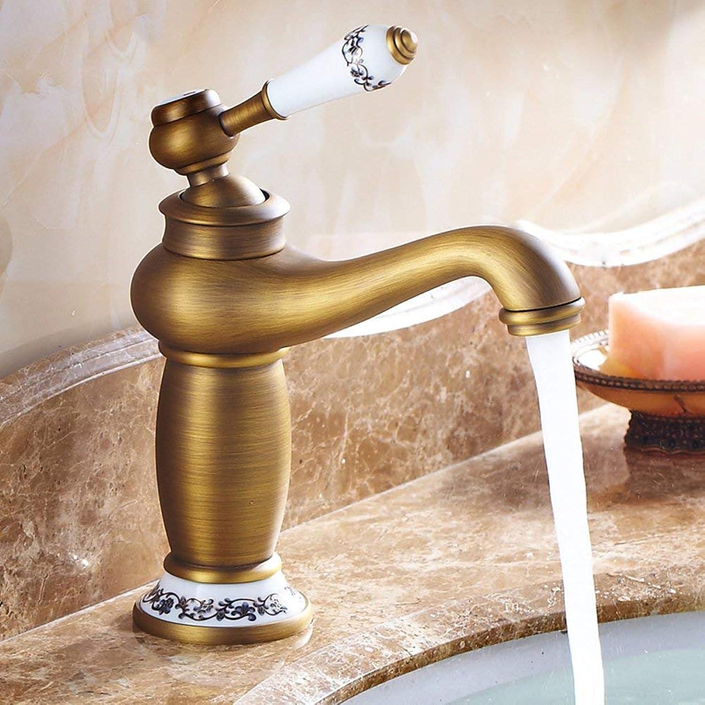 ZTMN Bad Waschbecken Wasserhahn Messing Keramik Griff Retro drehbar heies und kaltes Wasser Mischen-C