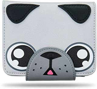 Ava & Kings PU Leather Cute Animal Face Clutch Wallets for Kids & Womens w/ 5 Interior Card Pockets