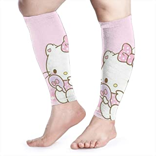 HYHACZX Pink Hello Kitty Calf Compression Sleeve (sequential Compression, Unisex Ergonomics) (Ideal for Sports, Work, Flight, Pregnancy) Ect-Support Sore Muscles & Joints, 1 Pair