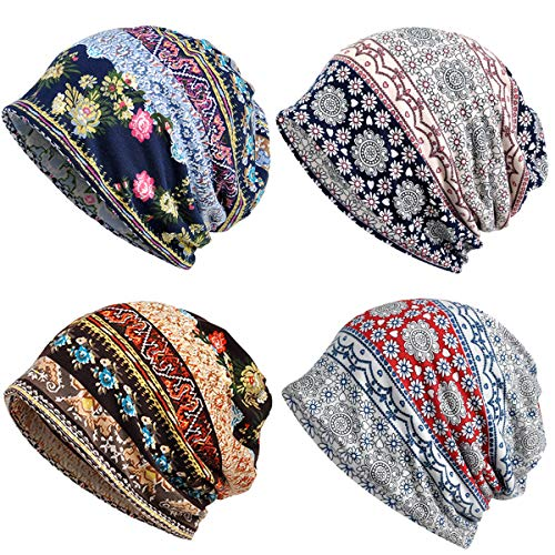 Chemo Caps for Women, Cute Floral Cotton Beanie Hats Chemo Headwear for Cancer Patient Snood Hats Slouchy Retro Tribal Printed Head Covering Thin Hippie Beanies Casual Skullies Beanies
