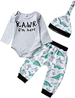 Jurebecia Newborn Baby Boy Clothes Letter Print Romper+Long Pants+Hat Outfits Set 0-24 Months