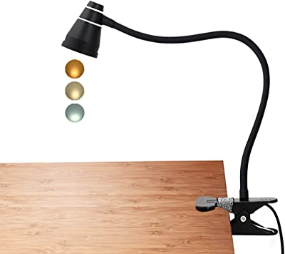 CeSunlight Clip Desk Lamp, Clamp on Reading Light, Flexible Gooseneck, Adjustable Color Temperature, 2m USB Cord and AC Adapter Included (Black)