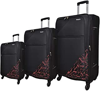 Track Fabric Luggage Trolley Bag, 4 Wheels, 3 Pieces - Black