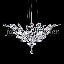 """James Moder Florale 27""""W Silver 5-Light Crystal Chandelier"""