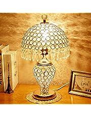 Augrous LED tafellamp kristal lampenkap dubbele schakelaar bediening nachtkastje bureaulamp met metalen basis voor de woonkamer decoratie (kleur: goud)