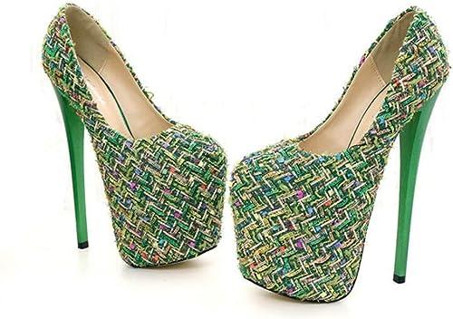 HNM chaussures Femme Escarpins Sexy Talons Aiguilles Haute Talon Chaussure Bout Fermé Plate-Forme Mariée Soirée Chaussure Noir Taille EU 35-46