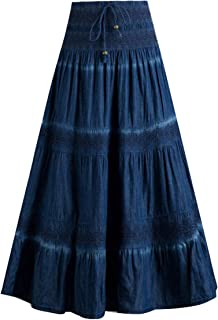 Femiserah Women's Bohemian Embroidered Flare A-Line Smocked Waist Long Maxi Denim Skirt