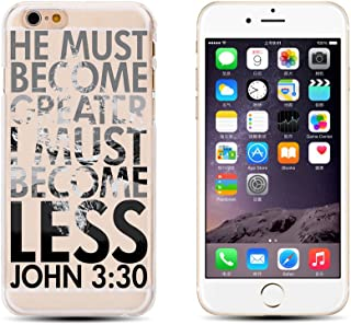 iPhone 6 / 6S , Holy Bible Verses Biblical Quotes of God's Words Protective Ultra Slim Translucent Silicone Clear Case Gel Cover for Apple (He must become greater)