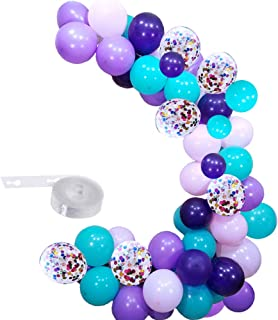 Mermaid Balloons Pack of 100,Include Purple Pink Turquoise Latex Balloons with Confetti Balloon for Mermaid Party Decorations Birthday Party