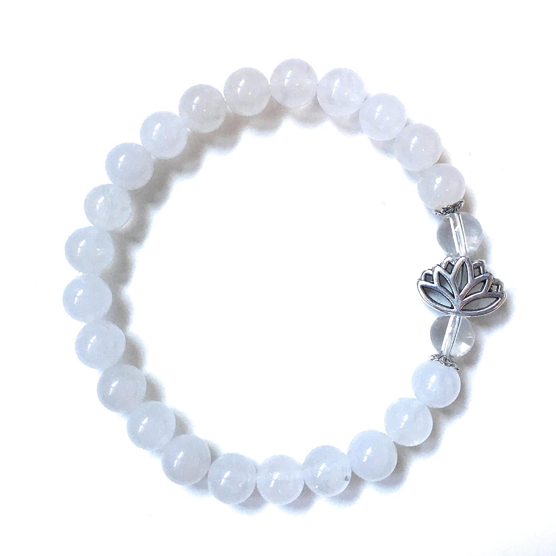White Jade Bracelet, Tibetan Silver Lotus Flower, Crystal Quartz