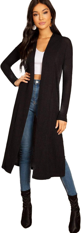 Floerns Women's Casual Solid Split Side Longline Cardigan Outerwear