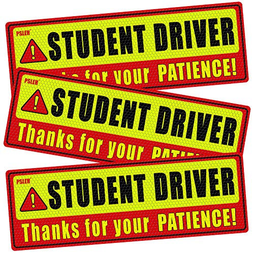 PSLER Student Driver Magnet for Car,be Patient Student Driver Magnet Boys and Girls New Student Driver Sticker Safety Warning Red and Yellow Reflective Signs Reusable Movable 10.8×3.7inch 3 Pcs Gifts