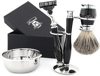 4-częściowy zestaw pędzli do golenia włosów z borsuka - 3 maszynki do golenia, miska do golenia i stojak tradycyjny zestaw...