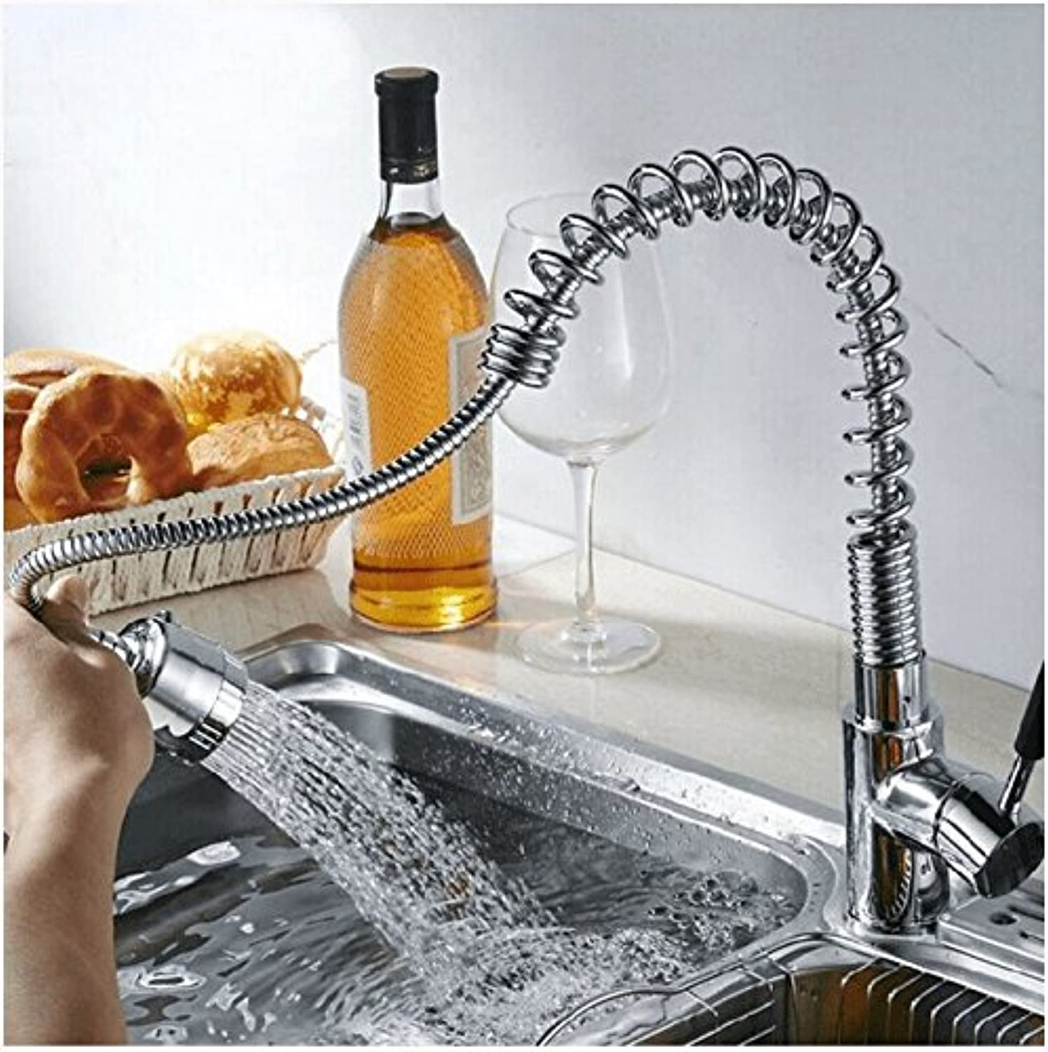 Commercial Single Lever Pull Down Kitchen Sink Faucet Brass Constructed Polished All-Copper Multi-Function Spring Faucet, Single-Unit Kitchen Pull-Out Faucet, Pull-Out Spring Kitchen Faucet
