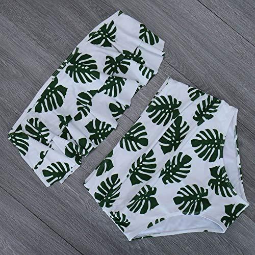 XUANYA Badpak Zomer Mode Dames Bikini Buis Top Lotus Leaf Badpak Print Hoge Taille Zwempak Plus Grote Maat Badpak Push Hoge Bikini Pak Retro Beach Wear Biquini
