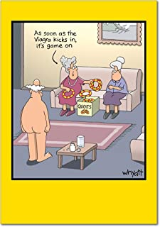 Viagra Kicks In - Elderly Happy Birthday Card with Envelope (4.63 x 6.75 inch) - Senior Citizen and Viagra, Adult Humor B-day Congratulations for Husband Grandpa, Old Men 8359