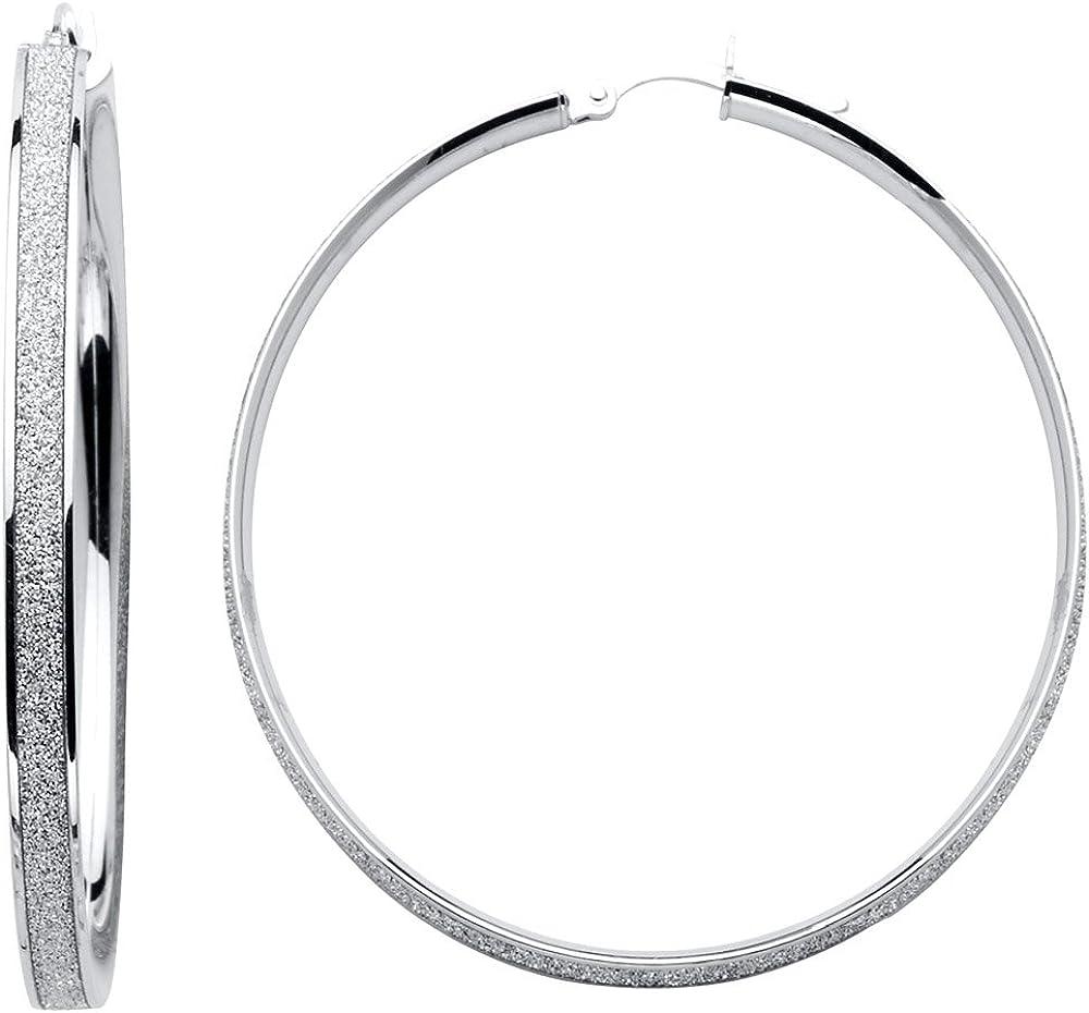 14k White Gold 4mm Thickness Sparkling Center Hoop Earrings (47 x 47 mm)