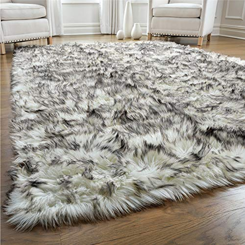 Gorilla Grip Premium Faux Fur Area Rug, 5x8, Fluffy Sheepskin Shag Carpet Accent Rugs for Bedroom and Living Room, Luxury Indoor Home Decor, Bed Side Floor Plush Carpets, Rectangle, Frosted Tips Black
