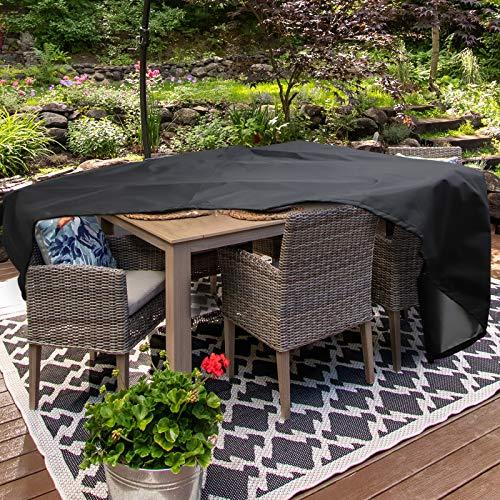 Homease Funda para muebles de jardín, impermeable, resistente al viento, antivioleta, resistente al polvo, para mesas de jardín, juegos de muebles, sillas, tejido Oxford negro 350 x 260 x 90