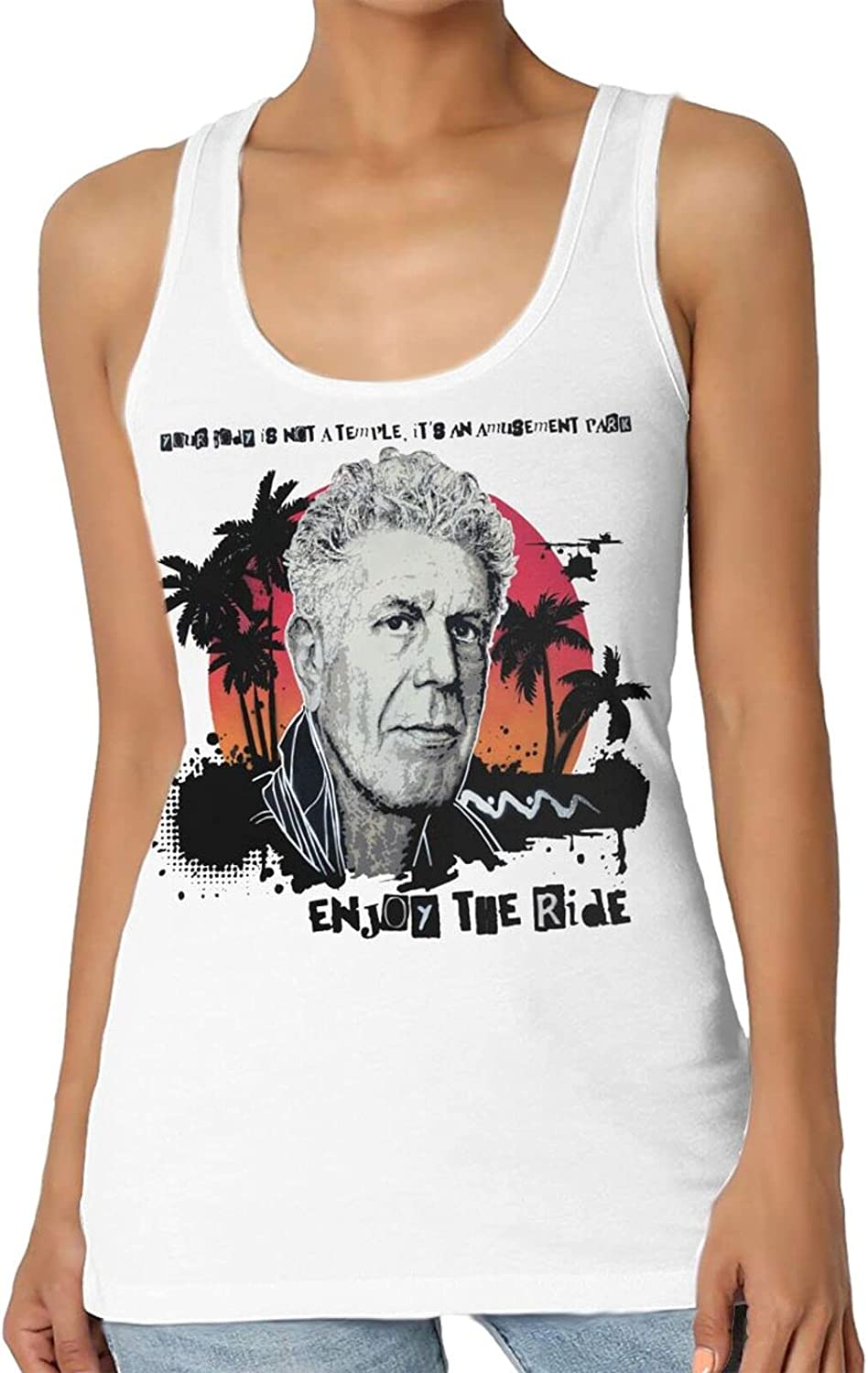yechunrong Anthony Bourdain Tank Top Women's Summer Casual 3D Printed Sleeveless Shirts Vest
