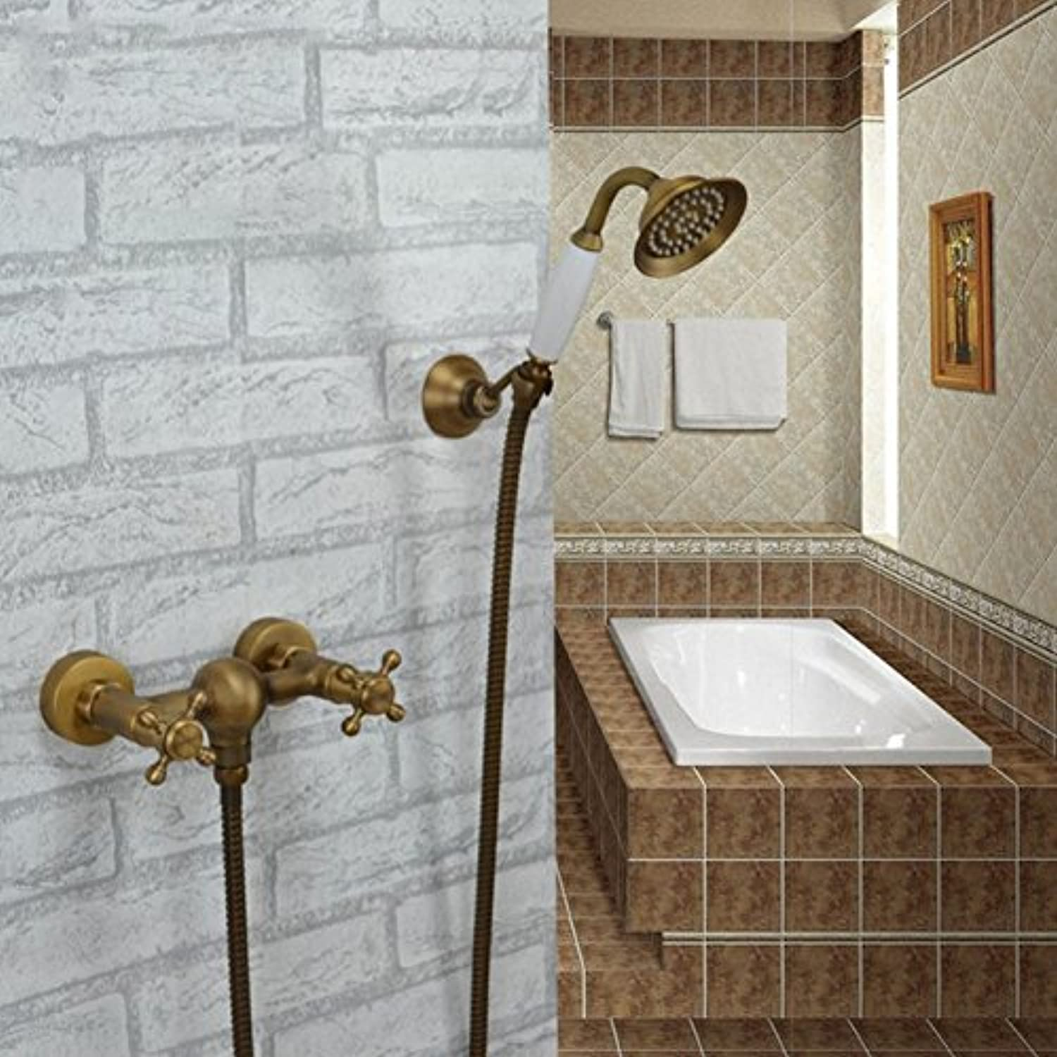 Retro Deluxe Faucetinging antique tub shower faucet into the wall classical copper bathtub full of hot and cold shower mixer with handle shower,Red