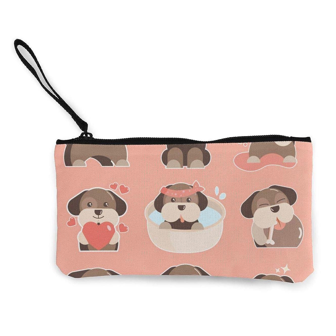 メルボルン対象明るいErmiCo レディース 小銭入れ キャンバス財布 ピンク背景犬 小遣い財布 財布 鍵 小物 充電器 収納 長財布 ファスナー付き 22×12cm
