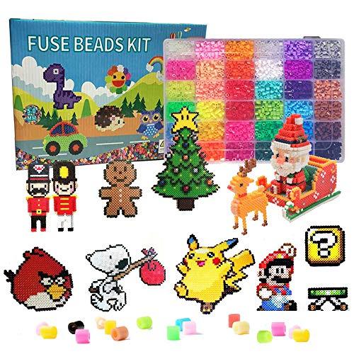 N / A Juego de 11000 cuentas para planchar, 36 colores, perlas de 5 mm, regalo para niños, con accesorios y caja de almacenamiento, juego de manualidades para niños y niñas