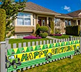Colormoon Large Green Tractor Birthday Banner, Farm Tractor Themed Birthday Party Supplies Decorations, Tractor Birthday Party Backdrop (9.8 x 1.5 feet)