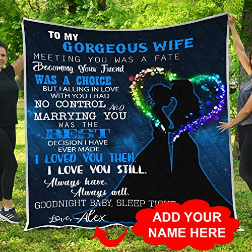 Personalized Custom Name To My Lesbian Wife Quilt Fleece Throw Blankets Comforter Tapestry Christmas Birthday Wedding Anniversary LGBT Pride Mrs. and Mrs. Marriage Sign Gifts for Couples Women Girls