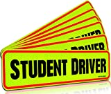 Signs Authority Student Driver Bumper Magnet for New Drivers, Novice or Beginner - Reusable Unlike a Decal or Bumper Sticker - Reflective Magnetic Large Bold Visible Text - Pack of 6