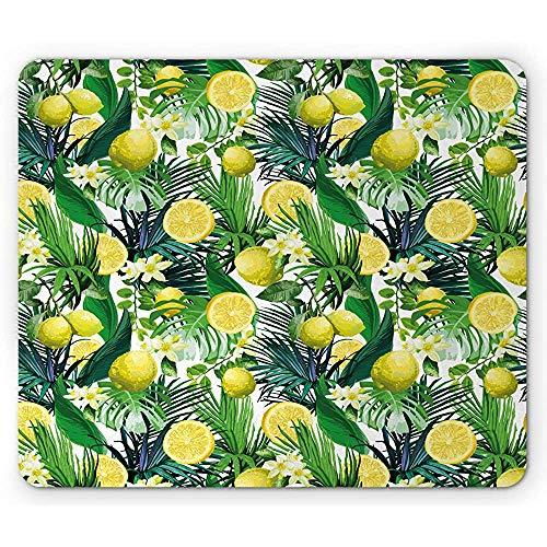 Natuur muismat, tropische planten met grote groenblijvende blad citroen Botany Palm Jungle Graphic, anti-slip rubberen muismat