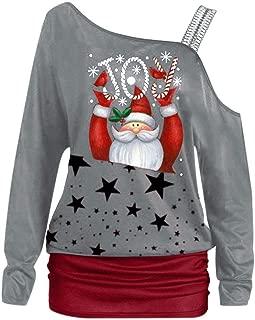 Women Christmas Sweater Tops, Ladies Xmas Santa Printed One Shoulder Long Sleeve T-shirt Tunic Tops
