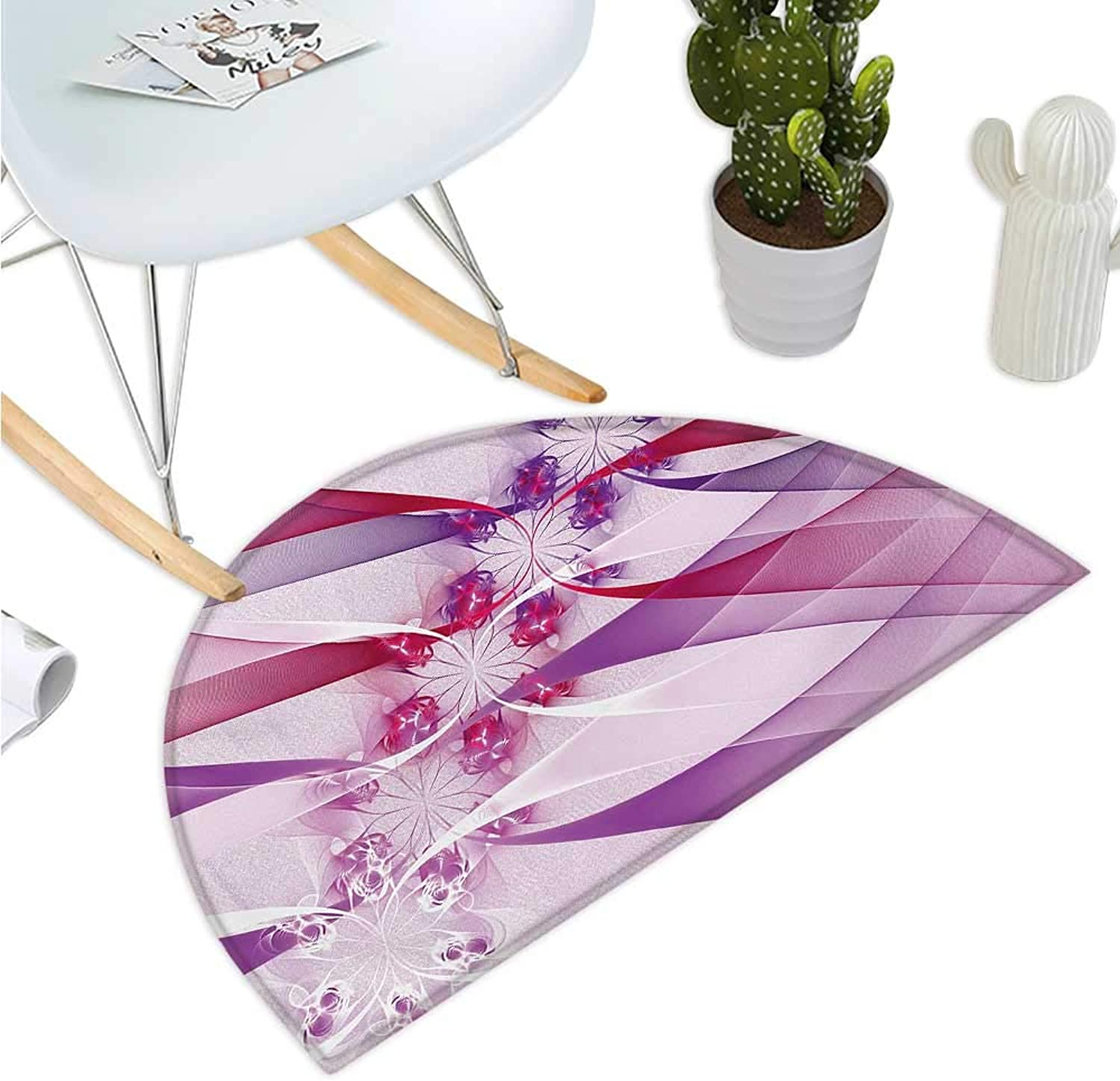 Fractal Semicircular Cushion Digital Flowers in Swirling Parallel Lines in colord Tones Artistic Illustration Bathroom Mat H 35.4  xD 53.1  purple Pink