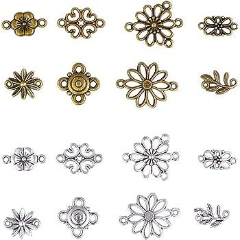 160pcs Alloy Tibetan Style Connectors Pendants Charms Mixed Flower Mixed Color