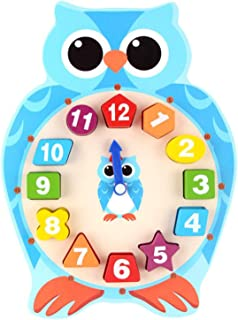 Yanhan Clock for Kids Learning to Tell Time Cartoon OWL Clock Color & Shape Match Game