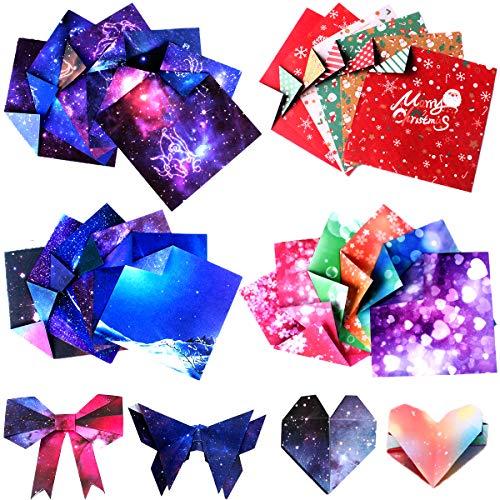 200 Hojas de Doble Cara Papel de Origami Hecho a Mano para Niños, Origami Hecho a Mano Para Navidad, Origami para Proyectos de Arte y Manualidades, Papel Cuadrado Para Origami Papel para Papiroflexia