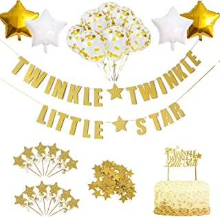 Twinkle Star Theme Party Decorations Kit-Glitter Letter Banner Dessert Table Confettie Cake Toppers Star Balloons for Kids...