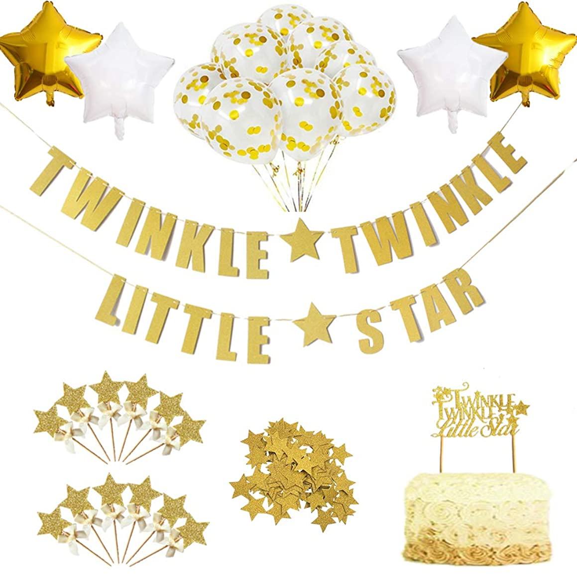 Twinkle Star Theme Party Decorations Kit-Glitter Letter Banner Dessert Table Confettie Cake Toppers Star Balloons for Kids Birthday New Year and Christmas Festa Party