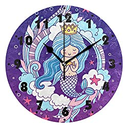 N /A Wall Clock Beautiful Mermaid Girl PVC Modern Design Home Decor Bedroom Silent Round Art for Living Room Battery-Powered Mute Simple Home Living Room