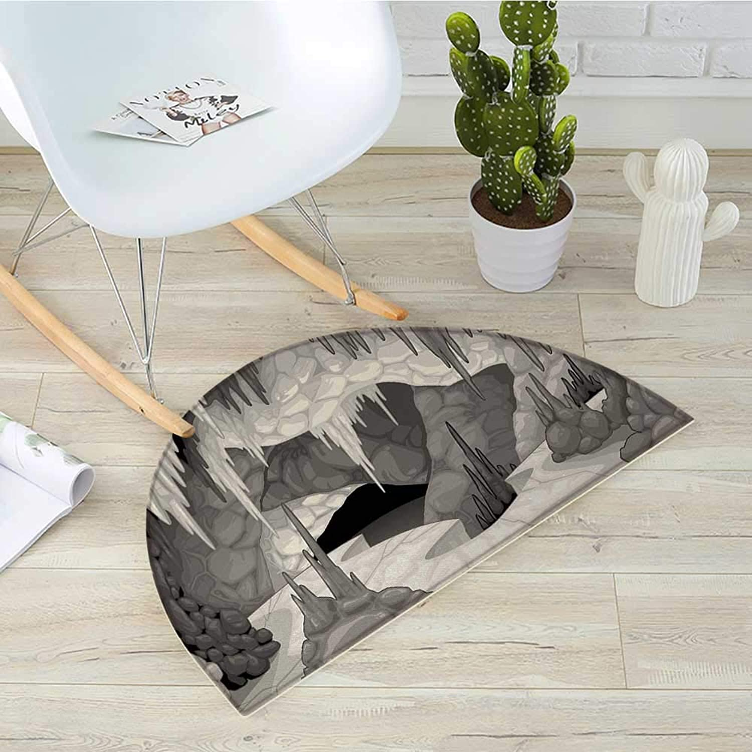 Cave Half Round Door mats Inside The Cavern with Stalagmites Speleology Theme Cartoon Style Gredto in Greyscale Bathroom Mat H 19.7  xD 31.5  Pearl Grey