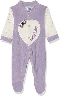 Papillon Velvet Stitched Heart Long-Sleeves Bodysuit for Girls - Light Purple, 0-3 Months