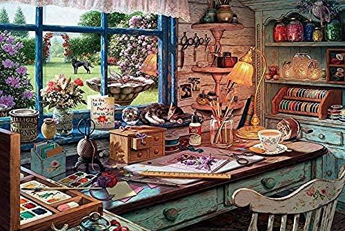 symzl Lustige Puzzles, Holzpuzzlespiel, Home Decors Toys Fun Games Tolles pädagogisches Geschenk für Kinder, Katze auf kreativer Retro-Werkbank