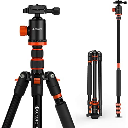GEEKOTO Tripod, Camera Tripod for DSLR, Compact Aluminum Tripod with 360° Ball Head, 77 Inch Professional Tripod with 1/4 Inch Quick Release Plate, for Video Conferencing, Travel and Work
